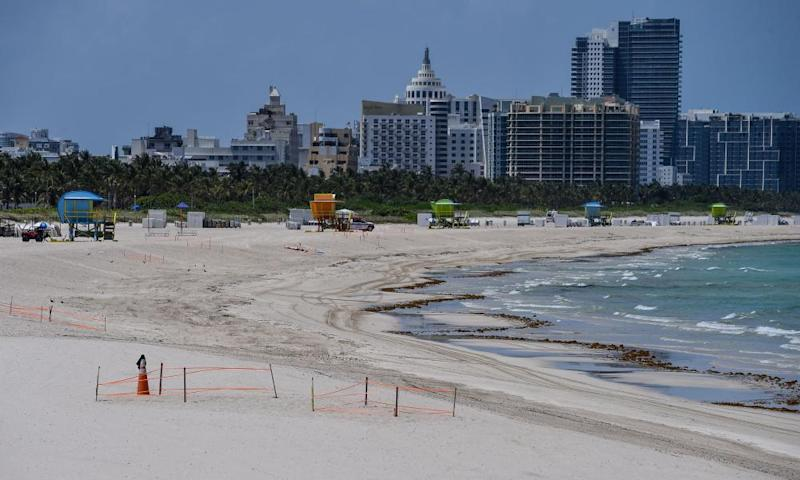 A deserted beach is seen in Miami Beach, Florida.