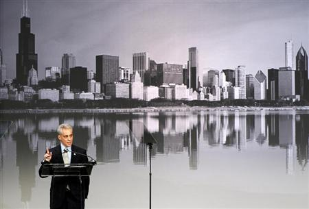 Chicago Mayor Rahm Emanuel addresses a crowd of teachers and politicans during an event to bring physical activity back to schools in Chicago