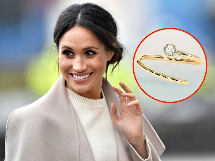 A photo of Meghan Markle waving with an inset of a ring.