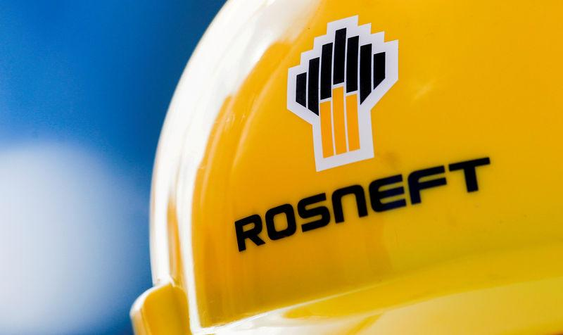 FILE PHOTO: The Rosneft logo is pictured on a safety helmet in Vung Tau