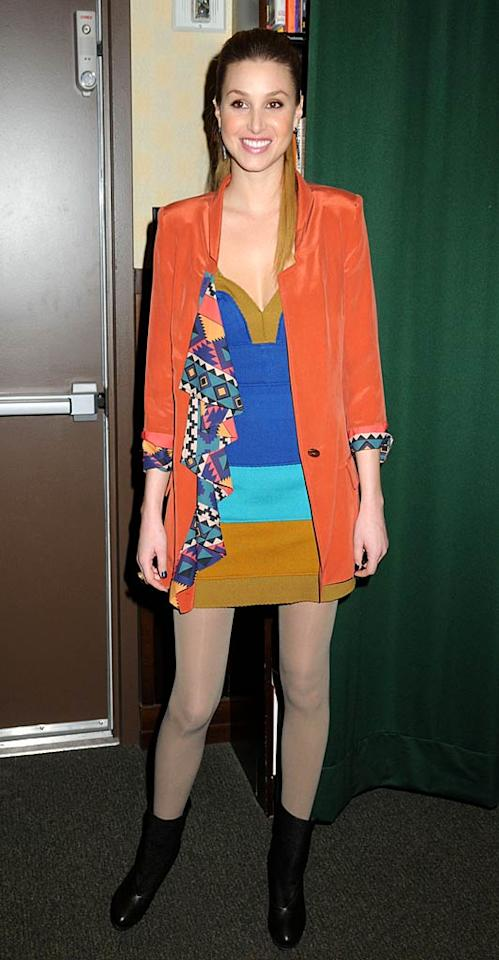 "Equally terrifying ... the color-blocked dress, pumpkin blazer, creepy-colored tights, and black booties Whitney Port wore while promoting her new ""book,"" <i>True Whit</i>, at a Barnes & Noble in NYC. Johns PkI/<a href=""http://www.splashnewsonline.com"" target=""new"">Splash News</a> - February 1, 2011"