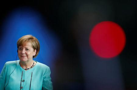 German Chancellor Angela Merkel attends a news conference at the Chancellery in Berlin, Germany, July 5, 2017. REUTERS/Fabrizio Bensch