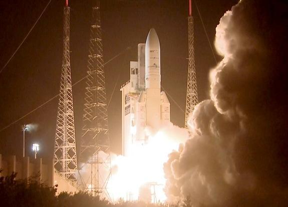 On March 22, 2014, an Ariane 5 rocket flight launched from Europe's spaceport in French Guiana on a mission to place two telecom satellites, Astra-5B and Amazonas-4A, into orbit.