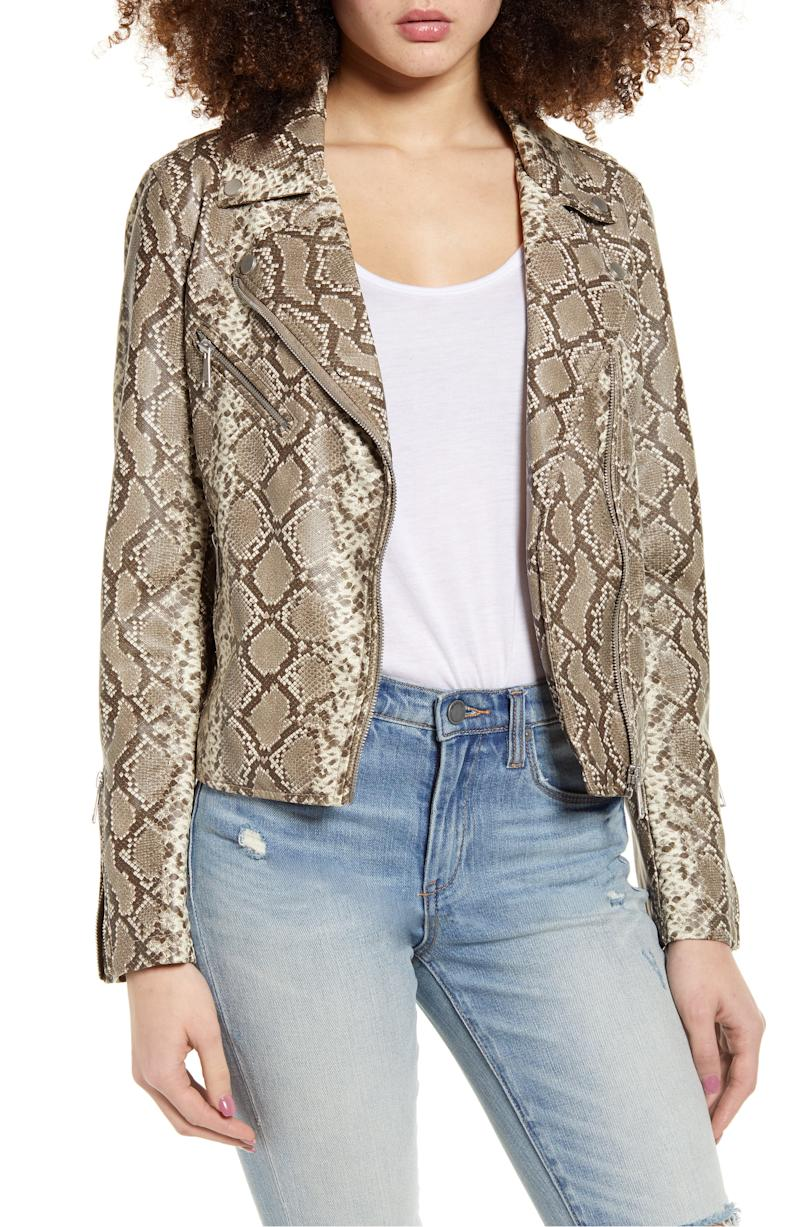 VIGOSS snake print faux leather jacket (Photo via Nordstrom)