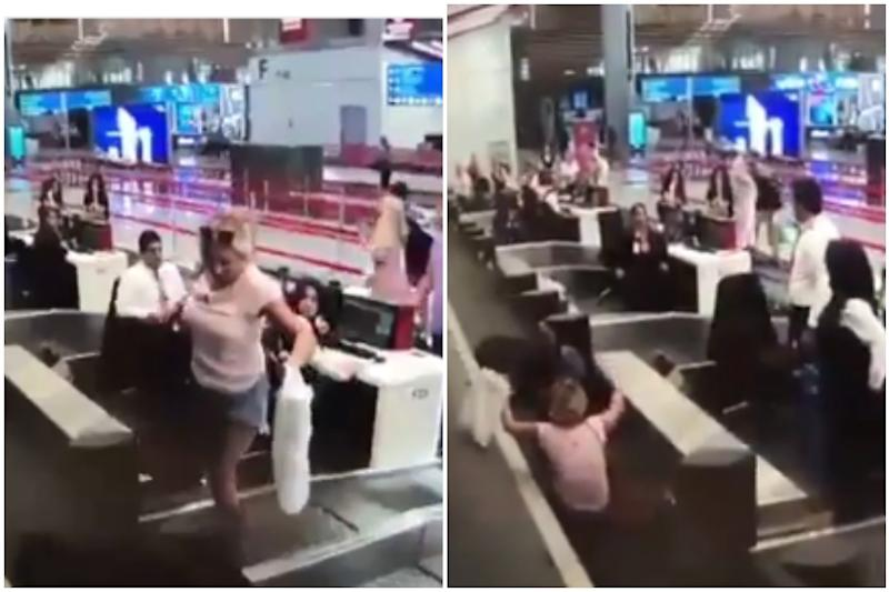 Watch: First Time Flyer Checks Herself in with Luggage on Conveyor Belt to Reach Aircraft