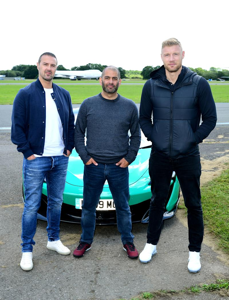 Paddy McGuinness, Chris Harris and Freddie Flintoff with a McLaren 600LT on the Top Gear test track in Dunsfold Park, Cranleigh, during the media launch for the new series of Top Gear which airs later this month.