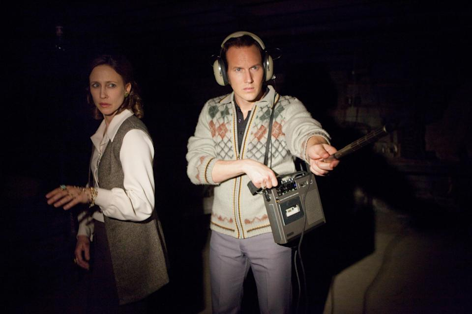 """<p><em>The Conjuring</em> is a classic take on the haunted house film, but director James Wan elevates it by relying on old-school techniques rather than over-the-top special effects. The movie, based on a real-life case of paranormal investigators Ed and Lorraine Warren, was so successful that it spawned several sequels and spin-offs. </p> <p><a href=""""https://www.amazon.com/Conjuring-Vera-Farmiga/dp/B00FPH6A70"""" rel=""""nofollow noopener"""" target=""""_blank"""" data-ylk=""""slk:Available to rent on Amazon Prime Video"""" class=""""link rapid-noclick-resp""""><em>Available to rent on Amazon Prime Video</em></a> </p>"""
