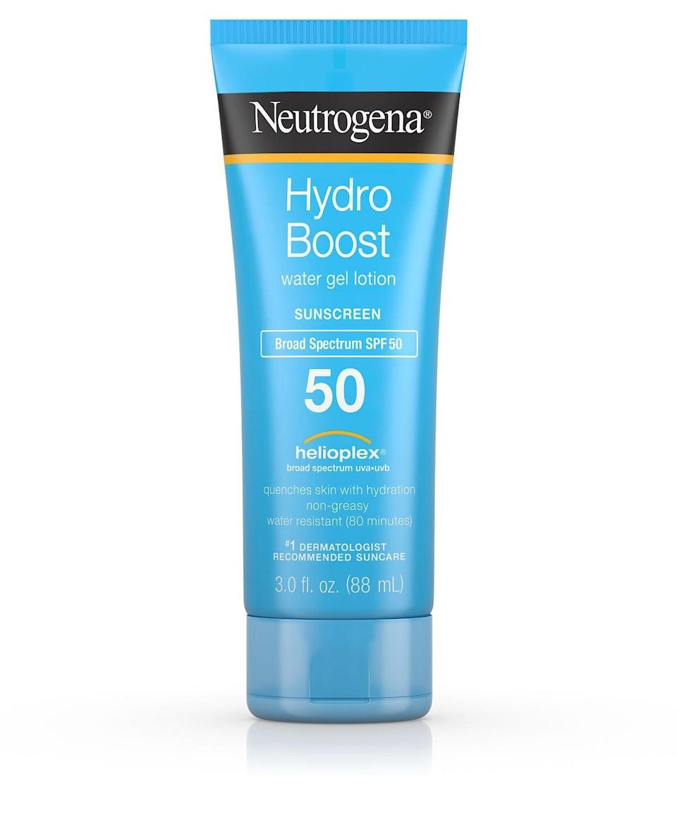 <p><span>Neutrogena Hydro Boost Water Gel Lotion SPF 50</span> ($11) goes on clear and smooth and can be found at your local drugstore. </p>