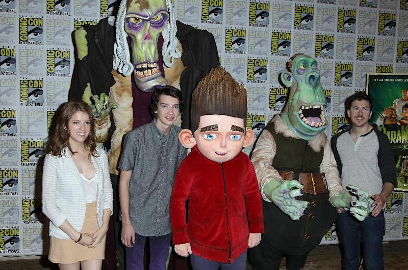 "FILE - In this July 12, 2012 file photo, Anna Kendrick, Kodi Smit-McPhee and Christopher Mintz-Plasse attend the ""ParaNorman"" press line at Comic-Con, in San Diego, Calif. Storm Troopers, cyborgs, superheroes and other comic-book fans can count on their annual pilgrimage to San Diego for another four years. San Diego Mayor Jerry Sanders announced Monday, Oct. 29, 2012, that Comic-Con has extended its contract with the city through 2016. (Photo by Matt Sayles/Invision/AP, File)"