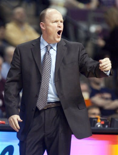 Milwaukee Bucks coach Scott Skiles reacts after the Bucks were whistled for a foul in the second half of an 88-80 loss to the Detroit Pistons in an NBA basketball game on Friday, Feb. 3, 2012, in Auburn Hills, Mich. (AP Photo/Duane Burleson)