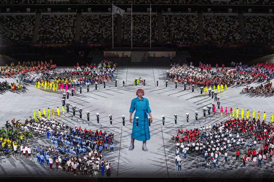 Artists perform during the closing ceremony of the Tokyo 2020 Paralympic Games at the Olympic Stadium in Tokyo on September 5, 2021. (Photo by Charly TRIBALLEAU / AFP) (Photo by CHARLY TRIBALLEAU/AFP via Getty Images)