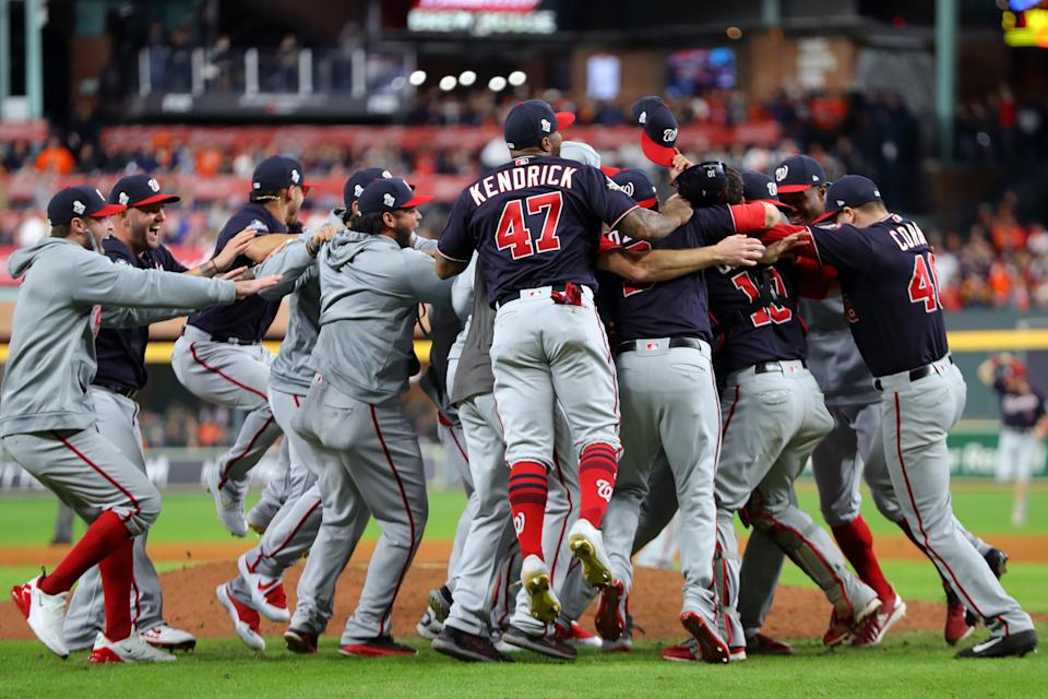 HOUSTON, TX - OCTOBER 30: The Washington Nationals celebrate after the Nationals defeat the Houston Astros during Game 7 to win the 2019 World Series at Minute Maid Park on Wednesday, October 30, 2019 in Houston, Texas. (Photo by Alex Trautwig/MLB Photos via Getty Images)