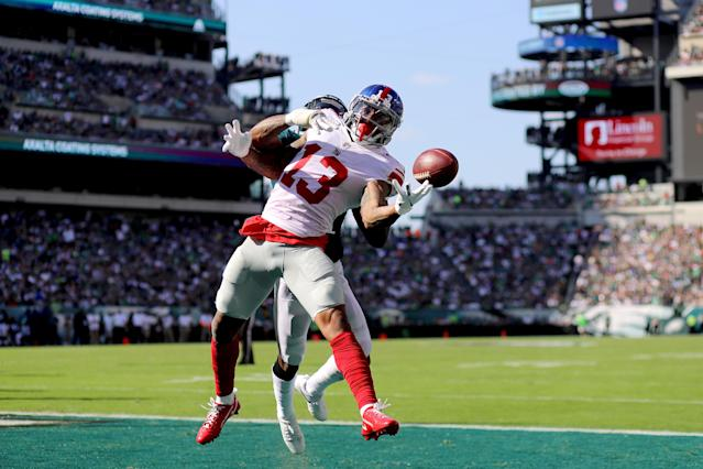 <p>Odell Beckham #13 of the New York Giants completes a four yard touchdown pass against Rasul Douglas #32 of the Philadelphia Eagles on September 24, 2017 at Lincoln Financial Field in Philadelphia, Pennsylvania. (Photo by Abbie Parr/Getty Images) </p>
