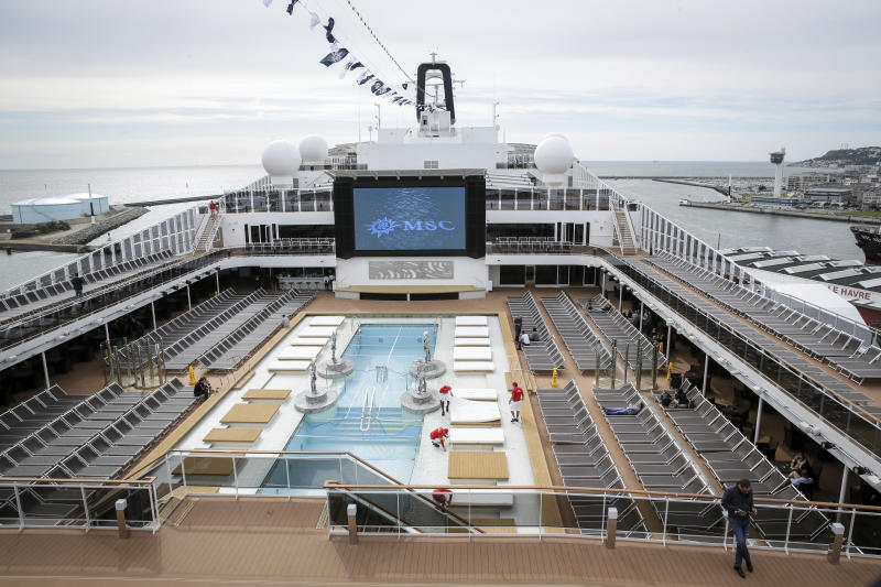FILE - This June 3, 2017 file photo shows the upper deck pool area of the MSC Meraviglia cruise ship docked in Le Havre harbour, Normandy, France. The cruise ship was turned away in Feb. 2020 by two nations, Grand Cayman and Jamaica, after it reported one crew member from the Philippines was sick with common seasonal flu, and is being allowed to dock at Mexico's Caribbean island of Cozumel and passengers will be allowed to disembark, President Andrés Manuel López Obrador said Thursday, Feb. 27, 2020. (AP Photo/Thomas Padilla, File)