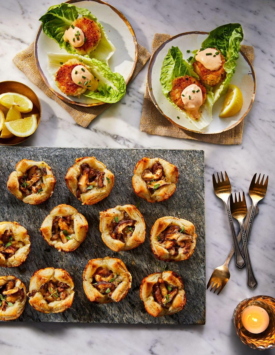 """<p><strong>Recipe: <a href=""""https://www.southernliving.com/recipes/cheesy-mushroom-tartlets"""" rel=""""sponsored noopener"""" target=""""_blank"""" data-ylk=""""slk:Cheesy Mushroom Tartlets"""" class=""""link rapid-noclick-resp"""">Cheesy Mushroom Tartlets</a></strong></p> <p>For a delicious filling without too much work, we call on chive-and-onion cream cheese for this recipe. </p>"""