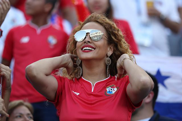 <p>A fan looks of Panama on ahead of the 2018 FIFA World Cup Russia group G match between Belgium and Panama at Fisht Stadium on June 18, 2018 in Sochi, Russia. (Photo by Patrick Smith – FIFA/FIFA via Getty Images) </p>