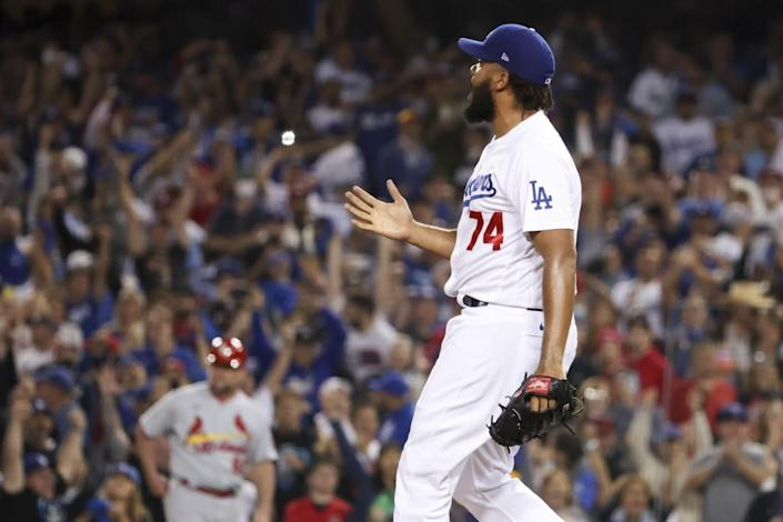 Los Angeles Dodgers relief pitcher Kenley Jansen reacts after a pitch