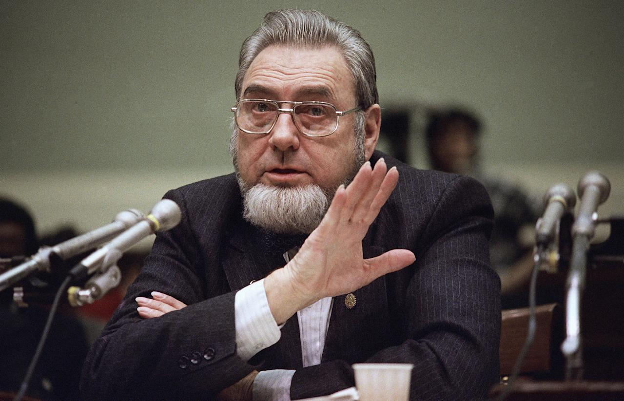 Surgeon General C. Everett Koop testifies before the House Energy and Commerce Committee at Capitol Hill in Washington, Tuesday, Feb. 11, 1987. Koop told the panel that he believes network television advertising of condoms would help prevent the spread of Aids. (AP Photo/Ron Edmonds)