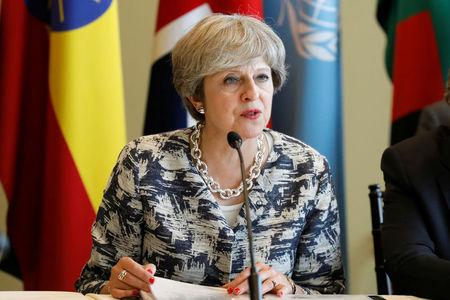 British Prime Minister Theresa May speaks during a meeting on action to end modern slavery and human trafficking on the sidelines of the 72nd United Nations General Assembly at U.N. Headquarters in New York