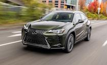 """<p>The <a href=""""https://www.caranddriver.com/lexus/ux"""" rel=""""nofollow noopener"""" target=""""_blank"""" data-ylk=""""slk:Lexus UX"""" class=""""link rapid-noclick-resp"""">Lexus UX</a> is a little bit of everything. It shares its underpinnings with the <a href=""""https://www.caranddriver.com/toyota/c-hr"""" rel=""""nofollow noopener"""" target=""""_blank"""" data-ylk=""""slk:Toyota C-HR"""" class=""""link rapid-noclick-resp"""">Toyota C-HR</a> and uses a powertrain from the <a href=""""https://www.caranddriver.com/toyota/corolla"""" rel=""""nofollow noopener"""" target=""""_blank"""" data-ylk=""""slk:Corolla"""" class=""""link rapid-noclick-resp"""">Corolla</a> hatchback. But its plastic cladding, all-wheel drive, and hybrid drivetrain make it more than just a Toyota with LED lights and leather seats. UX200 models use a 169-hp turbocharged inline-four with a CVT and are front-wheel-drive-only. The hybrid UX250h has 181 horsepower and all-wheel drive. We'd suggest the UX250h F Sport because of the fuel economy bump, all-wheel drive, and because the F Sport version has a sport-tuned suspension and better seats. Every UX comes with a 10.3-inch infotainment touchscreen with navigation and wireless charging, but it still uses that funky touchpad controller that makes moving about the menus a chore. Although it's not the most spacious, the hybrid UX does offer the highest EPA-estimated fuel economy in the segment with a combined 42 mpg. </p><ul><li>Base price: $34,025</li><li>EPA Fuel Economy combined/city/highway: 32/29/37 (FWD) 42/43/41 (FWD Hybrid) mpg</li><li>Rear cargo space: 17 cubic feet</li></ul><p><a class=""""link rapid-noclick-resp"""" href=""""https://www.caranddriver.com/lexus/ux/specs"""" rel=""""nofollow noopener"""" target=""""_blank"""" data-ylk=""""slk:MORE UX SPECS"""">MORE UX SPECS</a></p>"""