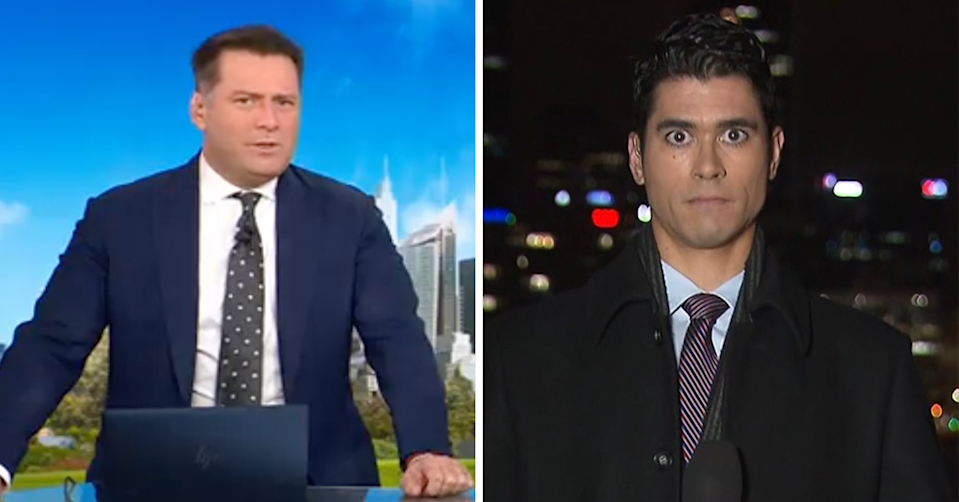 Karl Stefanovic and Ezra Holt looking stunned.