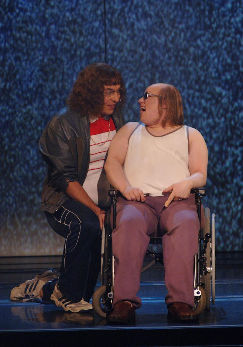 David Walliams and Matt Lucas in a special Comic Relief performance of the Little Britain stage show at the Hammersmith Apollo in west London. (Photo by Ian West - PA Images/PA Images via Getty Images)