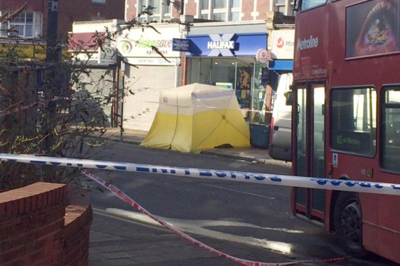 A forensic tent at the scene in north west London
