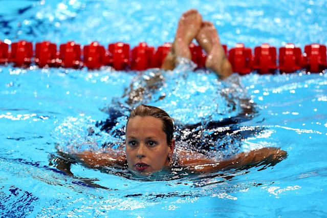 LONDON, ENGLAND - JULY 30: Federica Pellegrini of Italy swims towards the wall after she competed in competes in the second semifinal heat of the Women's 200m Freestyle on Day 3 of the London 2012 Olympic Games at the Aquatics Centre on July 30, 2012 in London, England. (Photo by Quinn Rooney/Getty Images)