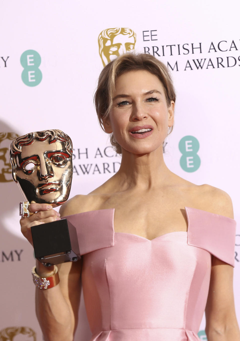 "FILE - Actress Renee Zellweger poses with her award for Best Actress for Judy, backstage at the Bafta Film Awards in central London on Feb. 2, 2020. Zellweger has earned her first Grammy nomination this year. The ""Judy"" soundtrack, which features Zellweger covering songs like ""Over the Rainbow"" and ""The Trolley Song,"" is nominated for best traditional pop vocal album. (Photo by Joel C Ryan/Invision/AP, File)"