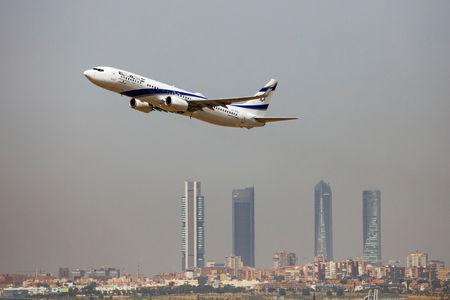 An El Al Israel Airlines Boeing 737 airplane takes off from the Adolfo Suarez Madrid-Barajas airport