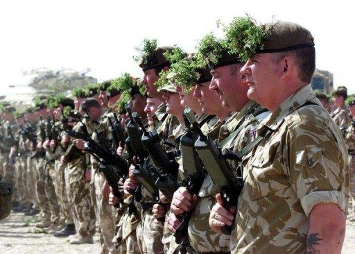 Irish Guards on parade in Kuwait on St. Patrick's Day in 2003