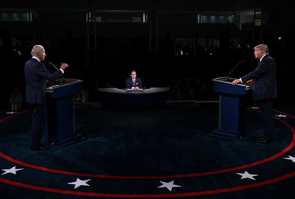 CLEVELAND, OHIO - SEPTEMBER 29: U.S. President Donald Trump (R) and former Vice President Democratic presidential nominee Joe Biden participate in the first presidential debate at the Health Education Campus of Case Western Reserve University on September 29, 2020 in Cleveland, Ohio. This is the first of three planned debates between the two candidates in the lead up to the election on November 3. (Photo by Olivier Douliery-Pool/Getty Images)