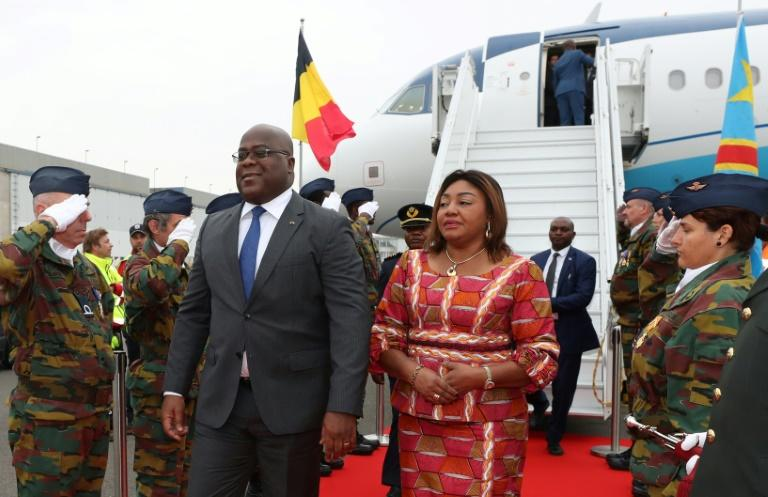 Democratic Republic of Congo's President Felix Tshisekedi and his wife Denise arrive for an official visit in Belgium at the Melsbroek military airport