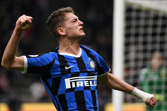 Youth club: Inter Milan's Sebastiano Esposito celebrates after scoring (AFP Photo/Marco Bertorello)