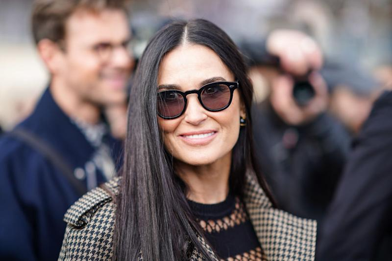 Demi Moore has surprised fans with her bathroom come lounge come home office set up, pictured at Paris Fashion Week, February, 2020 (Getty Images)