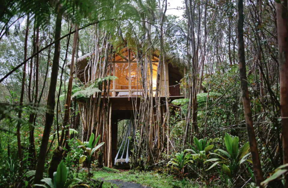 """<p>Deep within a jungle landscape is this rustic treehouse, which offers a secluded place to truly get away from it all. The quirkiest feature of the home? The swinging bed suspended from the living space (which is way cooler than a porch swing). Less adventurous types will sleep soundly in the bedroom, which faces a wall of windows.</p><p><a class=""""link rapid-noclick-resp"""" href=""""https://www.airbnb.com/rooms/2615058?source_impression_id=p3_1595275505_UqWqATNxAGqusLu4&guests=1&adults=1"""" rel=""""nofollow noopener"""" target=""""_blank"""" data-ylk=""""slk:BOOK NOW"""">BOOK NOW </a> <strong><em>Dreamy Tropical Treehouse</em></strong></p>"""