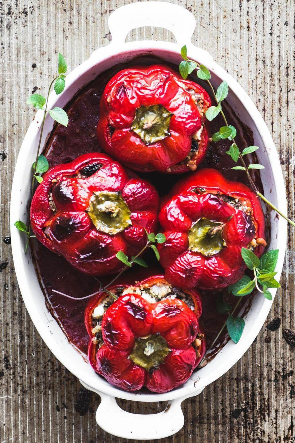 "<p>Classic stuffed peppers, but with an exotic makeover! And we love the look of them. Lightly spiced with cinnamon, allspice, cardamom, and nutmeg, these are bound to taste just as good as they look!</p><p>Get the <a href=""https://theviewfromgreatisland.com/spiced-lamb-and-couscous-stuffed-peppers-recipe/"" rel=""nofollow noopener"" target=""_blank"" data-ylk=""slk:Spiced Lamb & Couscous Stuffed Peppers"" class=""link rapid-noclick-resp"">Spiced Lamb & Couscous Stuffed Peppers</a> recipe.</p><p>Recipe from <a href=""https://theviewfromgreatisland.com/"" rel=""nofollow noopener"" target=""_blank"" data-ylk=""slk:The View From Great Island"" class=""link rapid-noclick-resp"">The View From Great Island</a>.</p>"