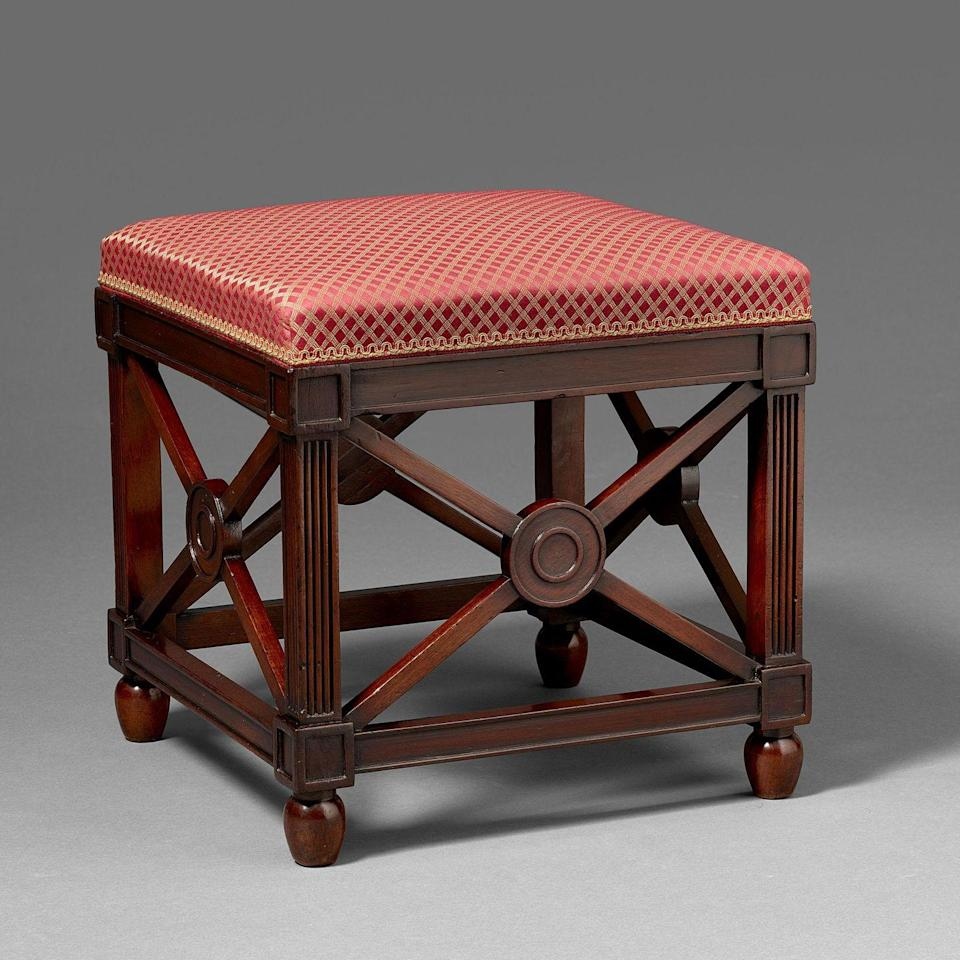 """<p>""""The small mahogany stool from <a href=""""https://blairman.co.uk/"""" rel=""""nofollow noopener"""" target=""""_blank"""" data-ylk=""""slk:H. Blairman & Sons"""" class=""""link rapid-noclick-resp"""">H. Blairman & Sons</a>, after a Thomas Hope design, is truly a star in my book. I love its classical lines. It's perfect for a library, to add an extra perch for a surprise guest!"""" —<em>Frank de Biasi</em></p>"""