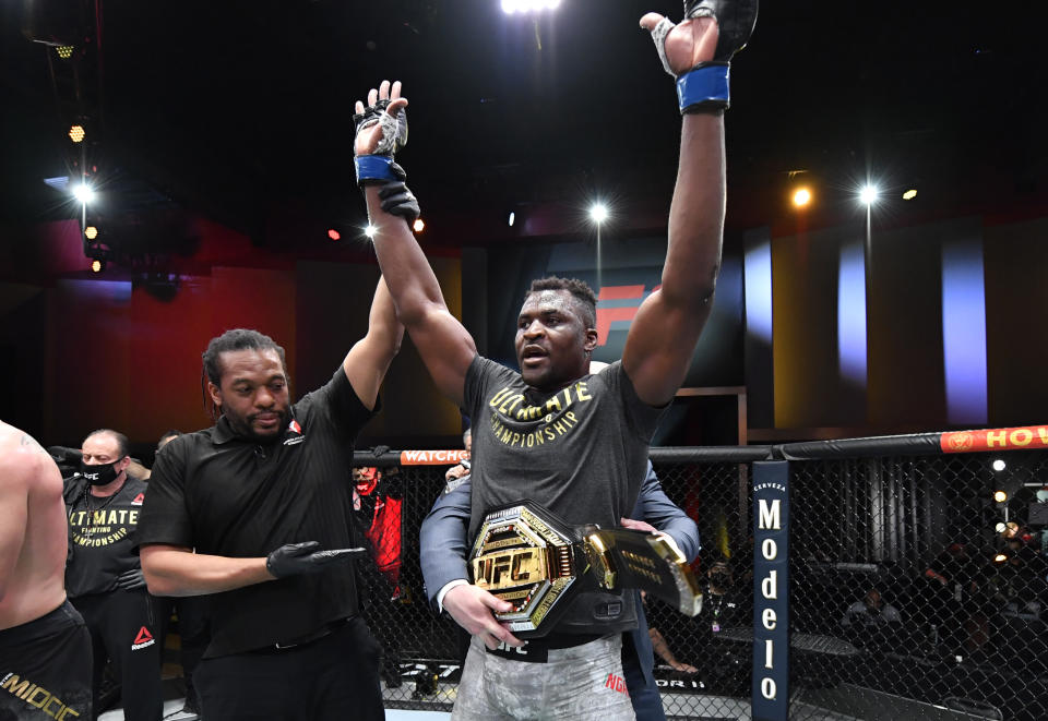 Francis Ngannou of Cameroon reacts after his victory over Stipe Miocic in their UFC heavyweight championship fight