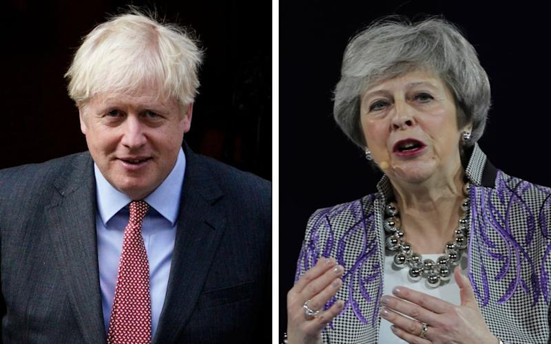 Theresa May took on her successor in the House of Commons on Monday - Shutterstock/AP