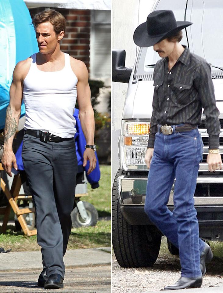 "(L) Matthew McConaughey shows his improved muscular physique on the set of his new crime drama 'True Detectives' in New Orleans on March 13, 2013. (R) Matthew McConaughey on the set of ""The Dallas Buyer's Club"" on December 17th, 2012 in New Orleans, Louisiana."