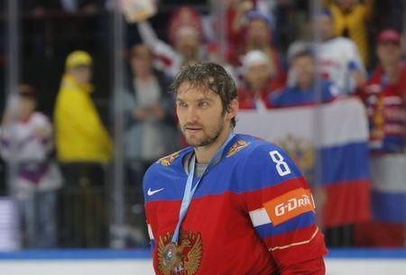 FILE PHOTO - Ice Hockey - 2016 IIHF World Championship - Bronze medal match - Russia v USA - Moscow, Russia - 22/5/16 - Alexander Ovechkin of Russia celebrates with his bronze medal after winning the game. REUTERS/Maxim Shemetov