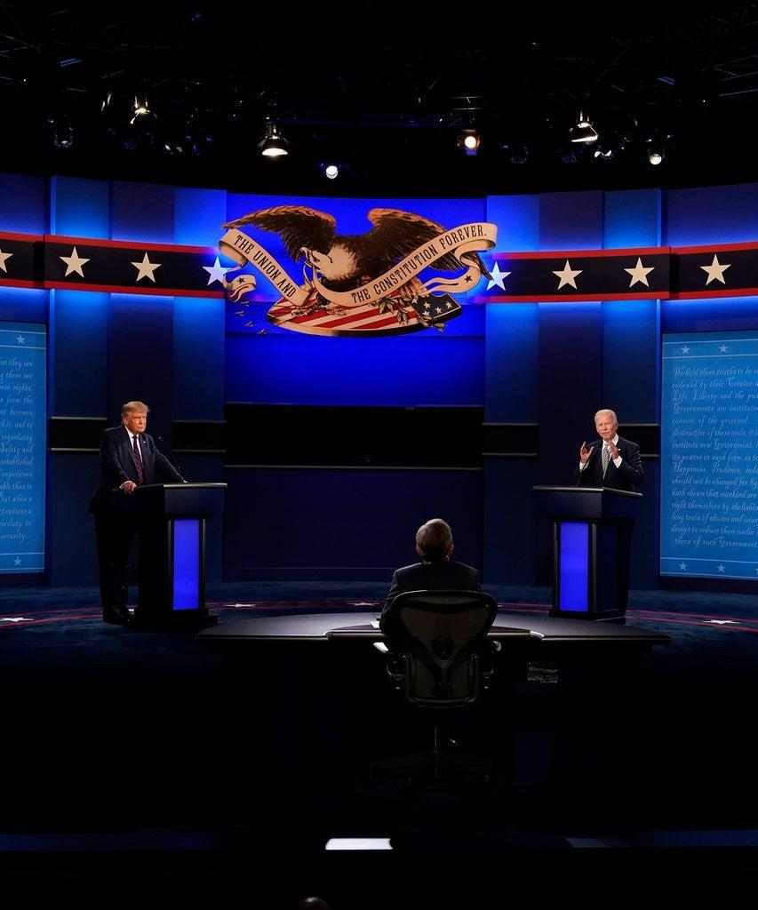 Mandatory Credit: Photo by Patrick Semansky/AP/Shutterstock (10862747a) President Donald Trump, left, and Democratic presidential candidate former Vice President Joe Biden, right, participate in the first presidential debate with moderator Chris Wallace of Fox News, center, Case Western University and Cleveland Clinic, in Cleveland, Ohio. Even before Trump's hospitalization, Republicans were growing increasingly concerned about the direction of the election. Trump's allies were particularly worried that his troubling debate performance on Tuesday might further alienate key groups of swing voters: women and college-educated voters, among them Election 2020 Political Volatility, Cleveland, United States – 29 Sep 2020