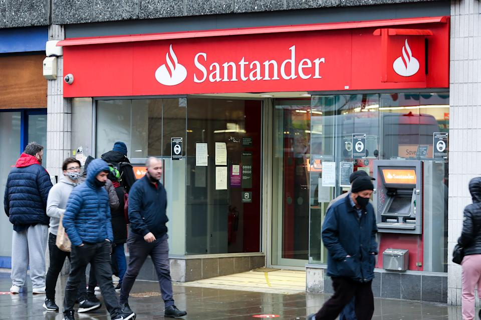 Santander announced a sweeping overhaul of its UK business on Thursday, responding to big falls in branch usage and changes in the way employees are working. Photo: Dinendra Haria/SOPA/Sipa USA