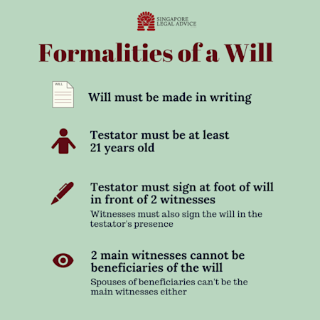 (1) Will must be made in writing; (2) Testator must be at least 21 years old; (3) Testator must sign at foot of will in front of 2 witnesses; (4) 2 main witnesses cannot be beneficiaries of the will
