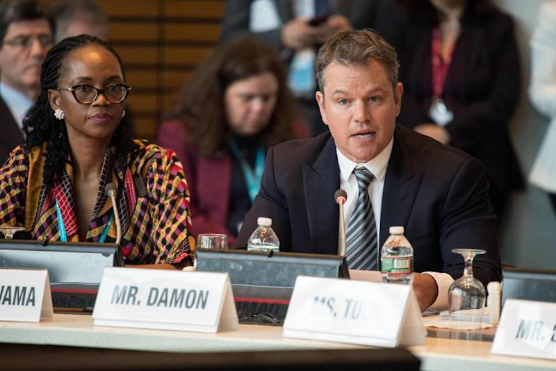 US actor and activist Matt Damon addresses the Sanitation, Water for All finance ministers' meeting in Washington, DC.