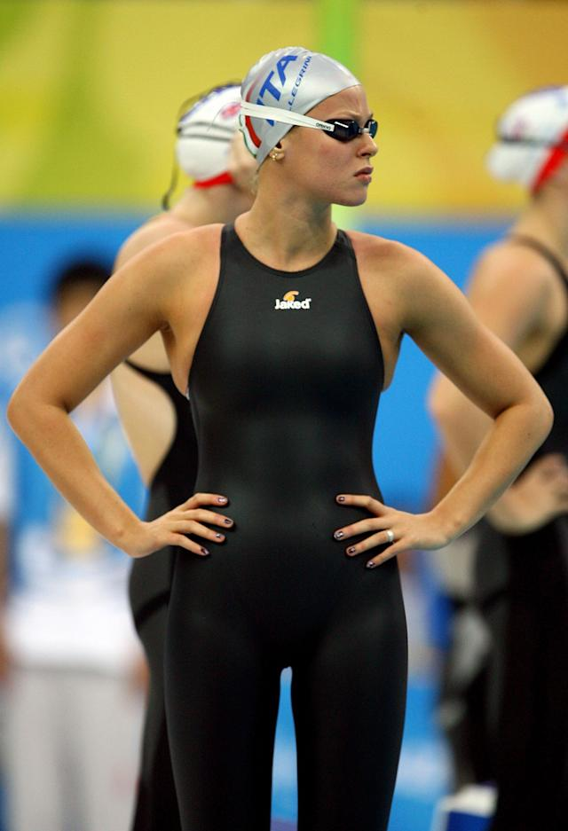 BEIJING - AUGUST 11: Federica Pellegrini of Italy competes in the Women's 400m Freestyle Final held at the National Aquatics Center on Day 3 of the Beijing 2008 Olympic Games on August 11, 2008 in Beijing, China. (Photo by Adam Pretty/Getty Images)
