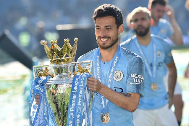 David Silva poses with the Premier League trophy in 2019 (GLYN KIRK/AFP/Getty Images)