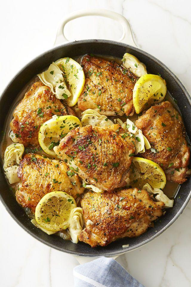"<p>These easy-to-make zesty chicken thighs will cook in just 30 minutes' time.</p><p><em><a href=""https://www.goodhousekeeping.com/food-recipes/healthy/a44208/skillet-lemon-chicken-artichokes-recipe/"" rel=""nofollow noopener"" target=""_blank"" data-ylk=""slk:Get the recipe for Skillet Lemon Chicken With Artichokes »"" class=""link rapid-noclick-resp"">Get the recipe for Skillet Lemon Chicken With Artichokes »</a></em> </p>"