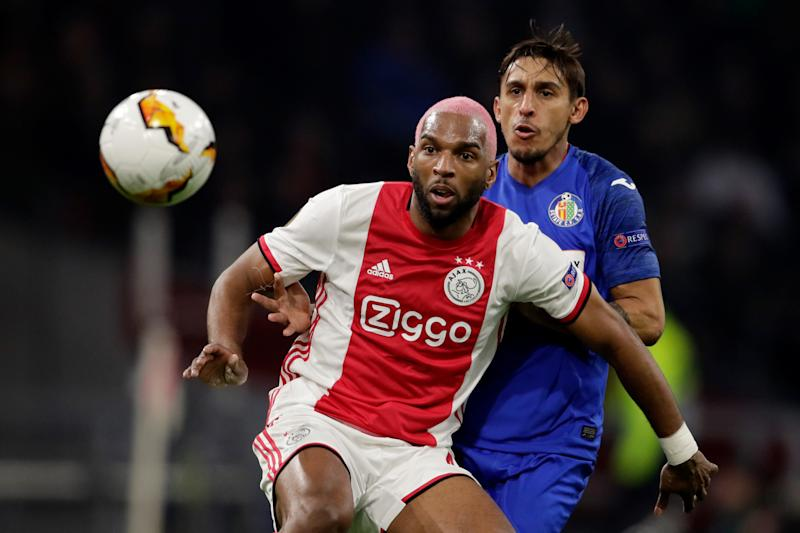 AMSTERDAM, NETHERLANDS - FEBRUARY 27: (L-R) Ryan Babel of Ajax, Damian Suarez of Getafe during the UEFA Europa League match between Ajax v Getafe at the Johan Cruijff Arena on February 27, 2020 in Amsterdam Netherlands (Photo by Laurens Lindhout/Soccrates/Getty Images)
